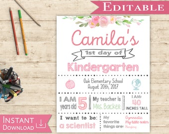 First day of School Editable Sign WhiteBoard Girl Back to School 1st day of School, DIY Printable Photo, Shabby Chic, Pink and Mint, Flowers