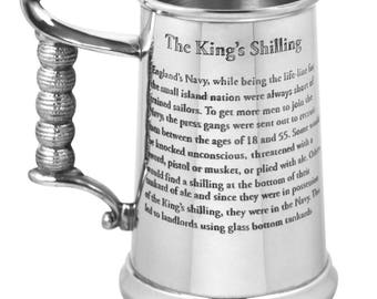 1 Pint Kings Shilling Pewter Tankard with Glass Base & shilling - a gorgeous and unique gift - engraved with your message. Heavy gauge.