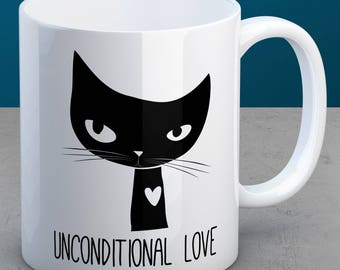 Black Cat Mug - Cute Mug with Black Cat Art - Great Gift for People Who Love Cats