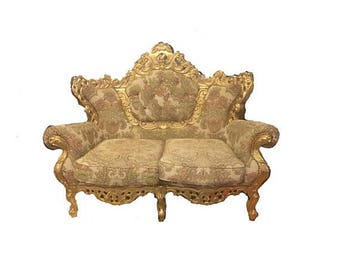 ON SALE Antique Victorian-styled French velvet tufted sofa/love seat/settee custom upholstery