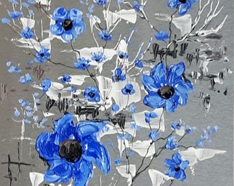 """Fleurs bleues 10"""" x 8"""" acrylique sur aluminium à l'état naturel / Blue flowers 10 in x 8 in acrylic on natural aluminum"""