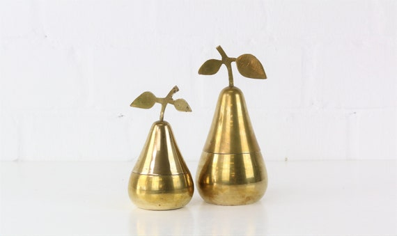 Vintage Brass Pear Set Collectors antique brass figurine pears Midcentury Style