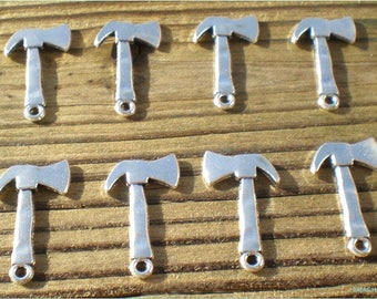 Axe Charms, Set of 8, Lumberjack or Lumberjane Charms,10% off 4th of July Sale - Coupon Code TENOFF - Store Wide Sale, Charm Findings