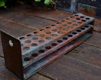Vintage French Copper Test Tube Holder - 36 Holes -