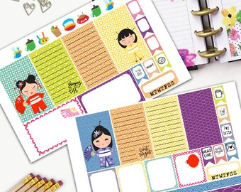 Kokeshi Doll Theme Planner Weekly Sticker SMALL Kit, CLASSIC Happy Planner Sticker, Weekly Set, Stickers, Printed, Cut, Japanese, Guardian