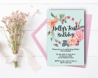 First Birthday Invitation Girl Custom Digital Printable Floral Pink Blue Pretty Elegant Roses Flowers Baby Girl #80001