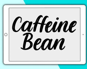 Caffeine Bean lettering brush for Procreate