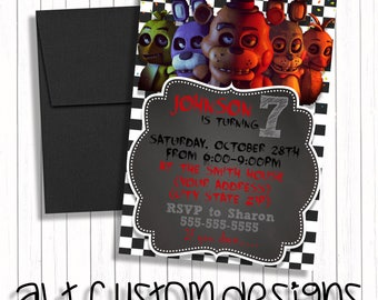 Five nights at freddys birthday invitations - five nights at freddys birthday invites - five nights at freddys invites -