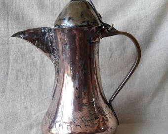 antique hand made copper finjan old oriental dallah  coffee pot