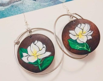 Jasmine wood art metal hoop earrings