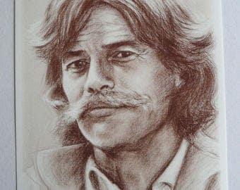 Jean Ferrat Portrait printed on fine art paper 10 x 14 cm or A4 card
