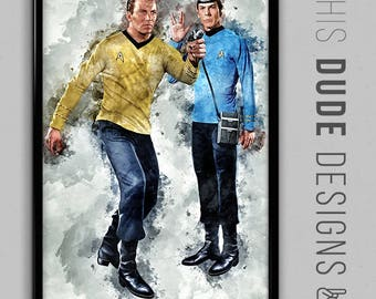 SALE   Star Trek Captain Kirk and Spock TV Show Art Original Digital Poster - William Shatner & Leonard Nimoy