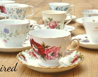 10 mismatch teacups, mismatched china, mismatched, high tea, tea party, madhatter tea party, tea set, teacups, joblot teacups, crockery
