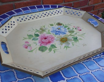 Vintage Nashco Hand Painted Tin Serving Tray