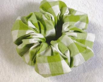Yellow green plaid hair scrunchie,Hair tie,Ponytail holder,Bun holder,Cute gift,One of a kind