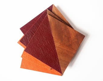 Coasters made of wood and leather