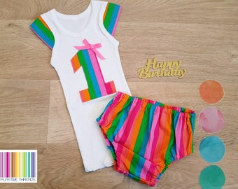 Girls First Birthday Outfit   Girls Cake Smash Outfit   Size 1   Girls 1st Birthday Singlet & Nappy Cover   Rainbow
