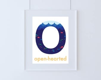 Letter O for Open-hearted Kids Art Printable