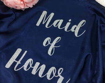 BRIDAL PARTY GLITTER Robes / Personalized Robe / Glitter Bridesmaid Robe / Bridal Robes / Wedding Satin Robes / Cl Sol