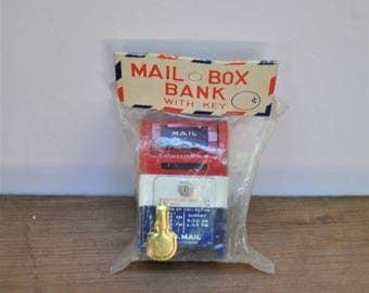 Vintage Tin Mailbox Bank with Key and Original Packaging-Metal Mailbox-Tin Bank-US Mail-Stamp Collecting-Vintage Toy Bank-Japanese Toy