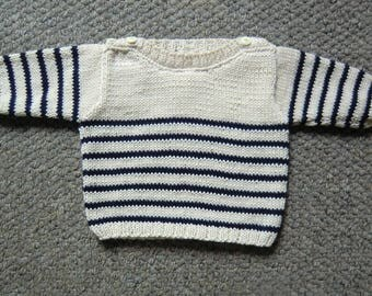 PULL BEBE MARINIERE taille 3 mois tricoté main laine 100% coton