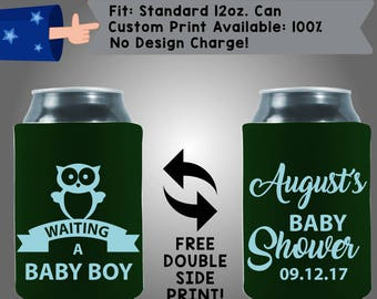 Waiting a Baby Boy Month's Baby Shower Date Gender Reveal Collapsible Fabric Baby Shower Can Cooler Double Side Print (BS112)