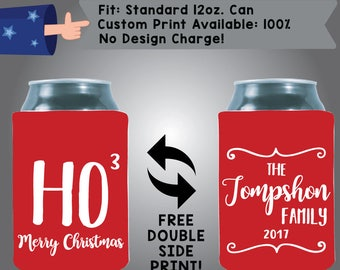 Ho Ho Ho Merry Christmas The Name's Family Collapsible Fabric Christmas Custom Can Cooler Double Side Print (Etsy-Christmas05)