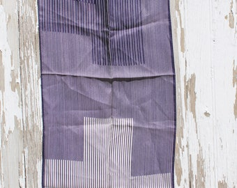 White and dark blue striped acetate scarf, ultra crepe, made in Japan, 1960s, rectangular, nautical