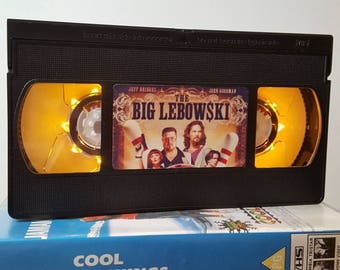 Retro VHS Lamp The Big Lebowski Night Light Table Lamp, Horror Movie. Order any film! Great gift. Man cave, Office, Bedroom!
