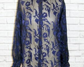 Size 18 vintage 90s long sleeve loose fit shirt sheer black/navy floral (IB71)