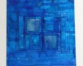 "Miniature Collaged Art Card. ""Inner Space 9"" . Original Abstract Art Card"