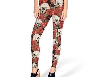 Rose and Skull Print Leggings