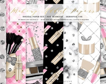 Makeup Addict Digital Paper Set, Beauty, Makeup, Pretty, Pink, Glamour Clipart, Planner Stickers, Papers, Dior, Chanel,