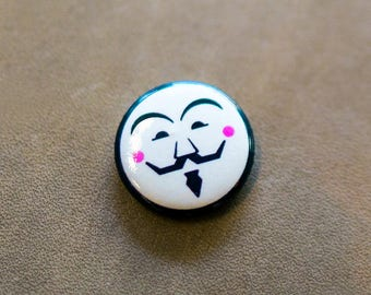 Vendetta-inspired Pin, Vendetta enamel pin, Guy Fawkes button badge, V For Vendetta badge, Anonymous enamel pin, cool button badges,