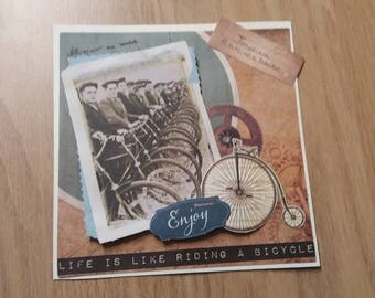 Card - handmade birthday day card - vintage - Photo card - black & white bike