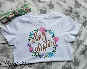 Floral Big Sister T Shirt