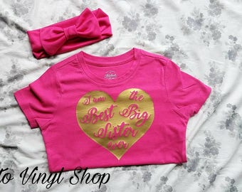 I Am The Best Big Sister Ever Pink And Gold T Shirt