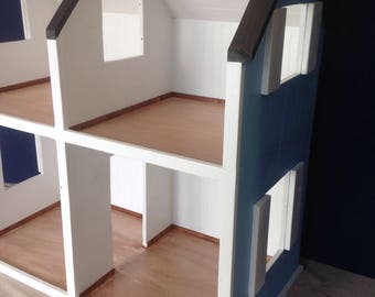"""Large  Two-Story Dollhouse, American Girl Sized, Dollhouse, 18"""" Doll Scale, Wooden Dollhouse, Little Girl's Room, Heirloom, Free Shipping"""