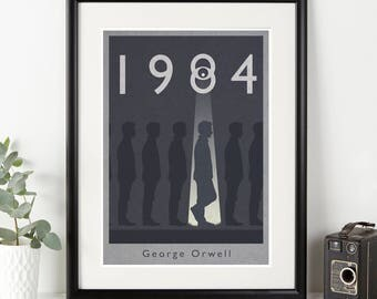 1984 Alternative book cover print - Minimalist design of Orwell's powerful and iconic book. Available in three sizes A3, A4 & A5.