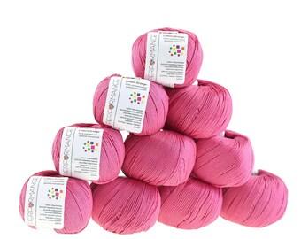 10 x 50 g knitting wool cotton breeze, #34 pink