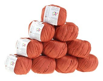 10 x 50 g knitting wool cotton Pearl, #447 Brown