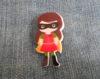 Handmade Cartoon Female Batman Robin Comic Book Super Hero Pin Badge