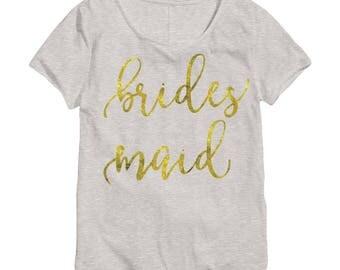 Gold Bridesmaid Shirt - Bridesmaid Shirts - Team Bride Shirts - Bridal Party Shirts - Bachelorette Shirts - Bridal Party Shirt Set 012