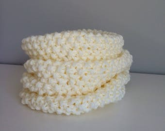 Cream knit cowl, Cream scarf, Circle scarf, Cream neckwarmer, Cowl, Scarf, Free shipping, Ready to ship