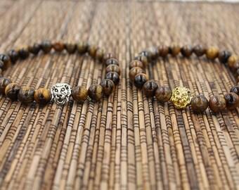 Tiger Eye Lion Stack - Bead Bracelet