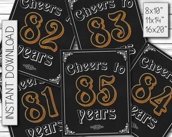Cheers 81st, 82nd, 83rd, 84th, 85th Birthday, Chalkboard Poster, Gift for Dad, Birthday Party, Gift for Woman, Printable DIGITAL FILES ONLY
