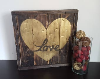 Wooden Rustic Heart, Gold Heart, Rustic Gold Heart, Love decor, Gold love Heart,