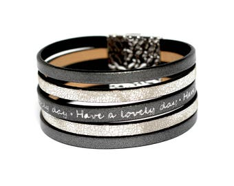 Graphite and silver wrap leather bracelet, cuff magnetic bracelet, genuine leather jewelry, leather cuff jewellery, vegan gift for woman