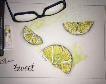 Bitter Sweet Lemon ORIGINAL Watercolour and ink ready for framing.
