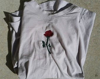 hand embroidered rose tshirt | hand sewn | roses | flowers